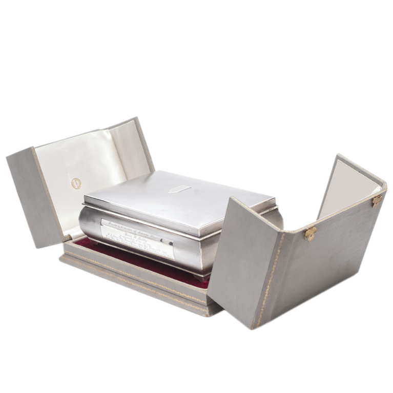 English Silver Cigarette Box from Tessiers