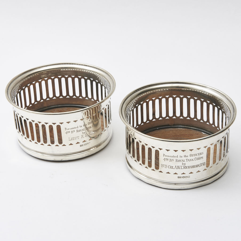 Pair of Large Silver Coasters