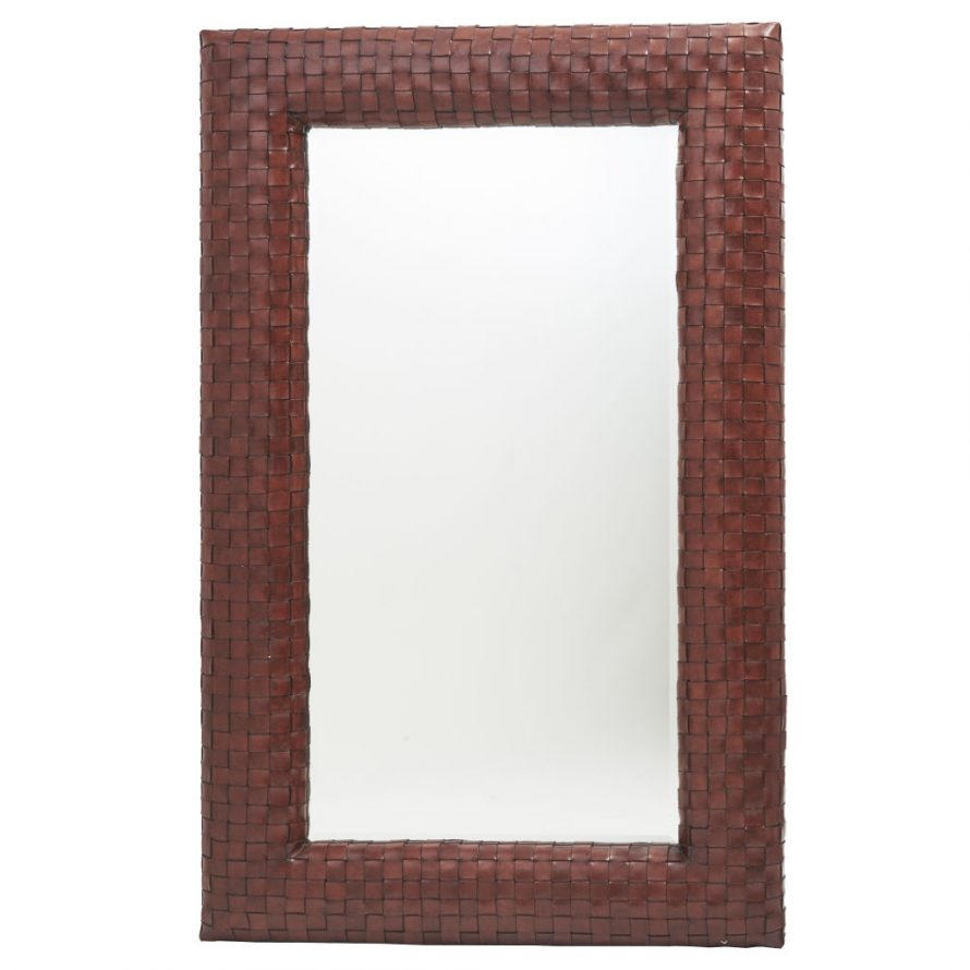 Leather Basket Weave Mirror