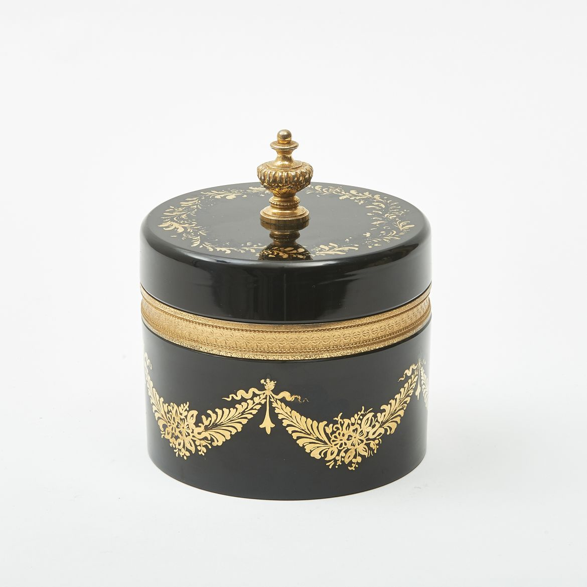 Round Black & Gilt Casket
