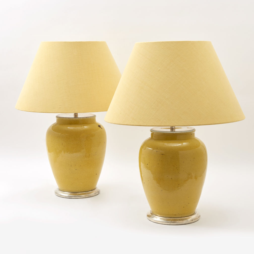 Pair Yellow Glaze Lamps