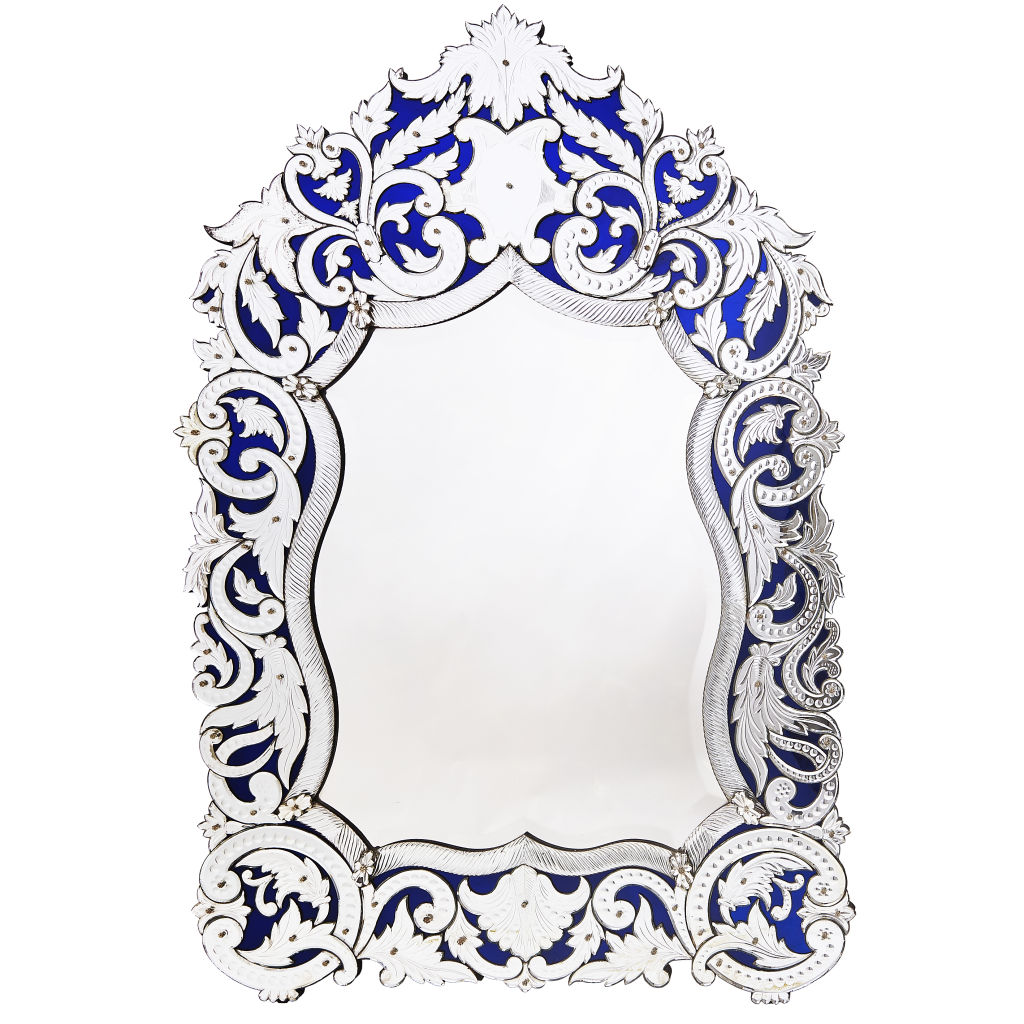 Venetian Blue Glass Mirror