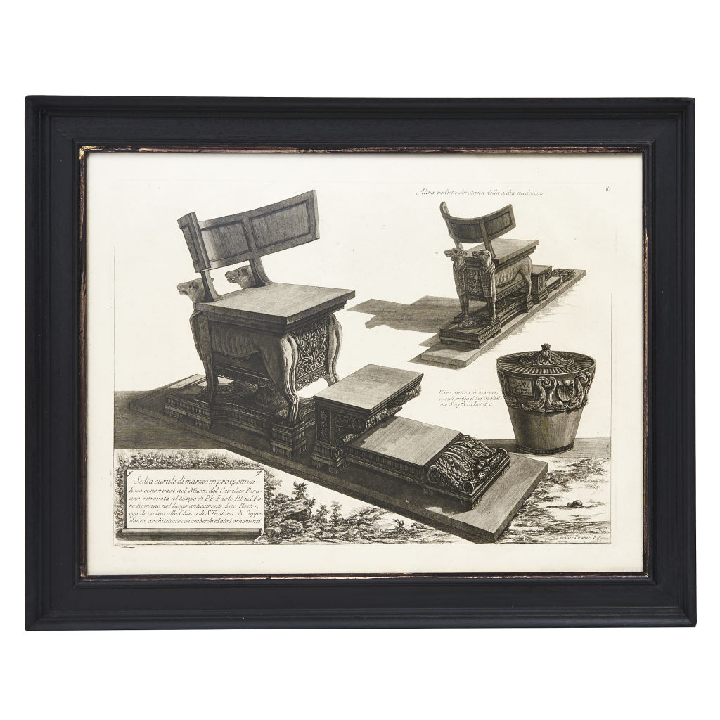 Piranesi Print of Chair with Inscription