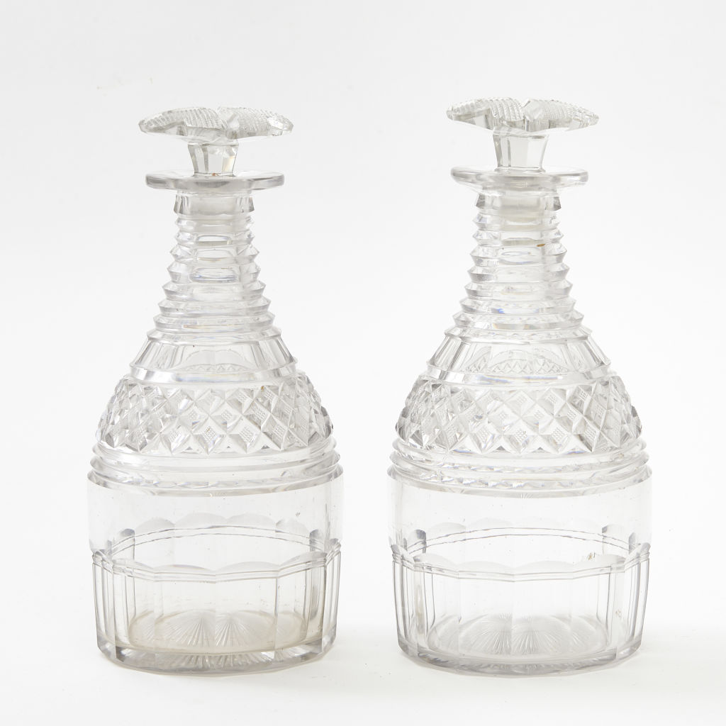 Georgian Diamond Cut Decanters