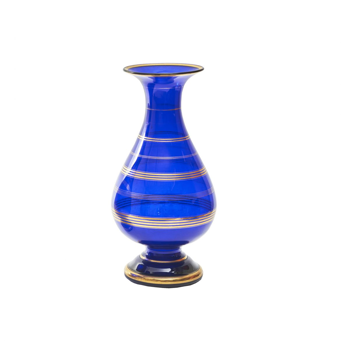 French Blue Glass Vase