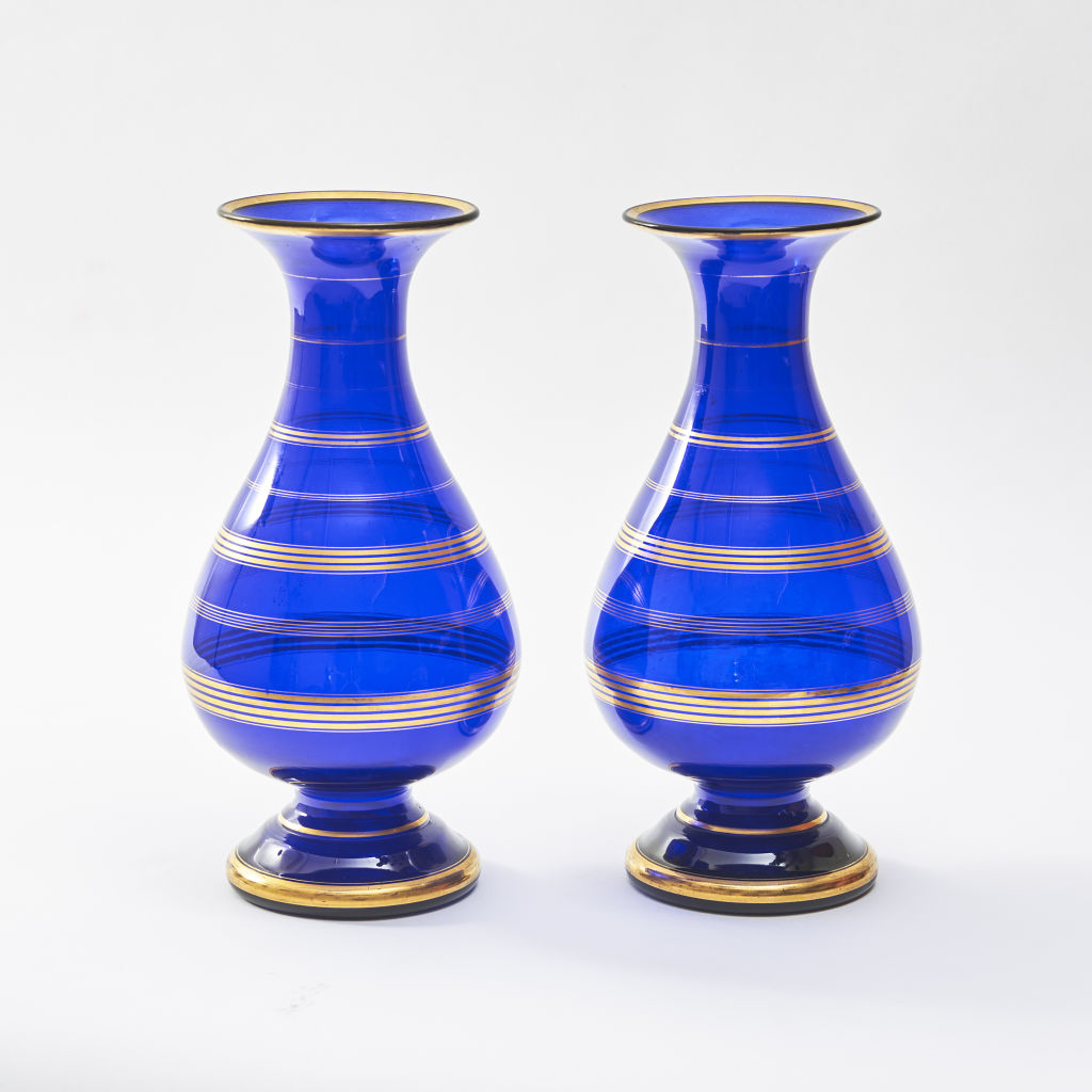 Pair Blue and Gilt Vases