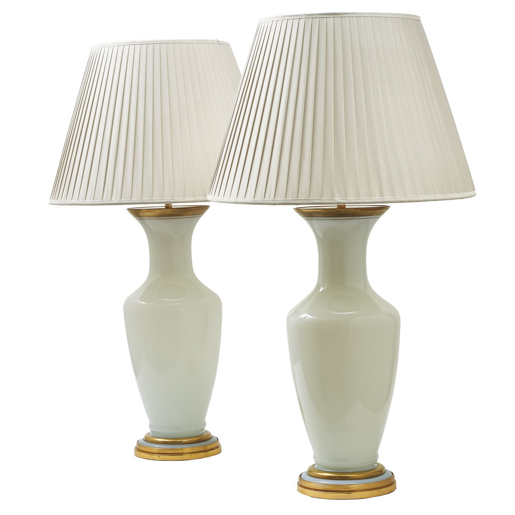 Pair White Glass Lamps