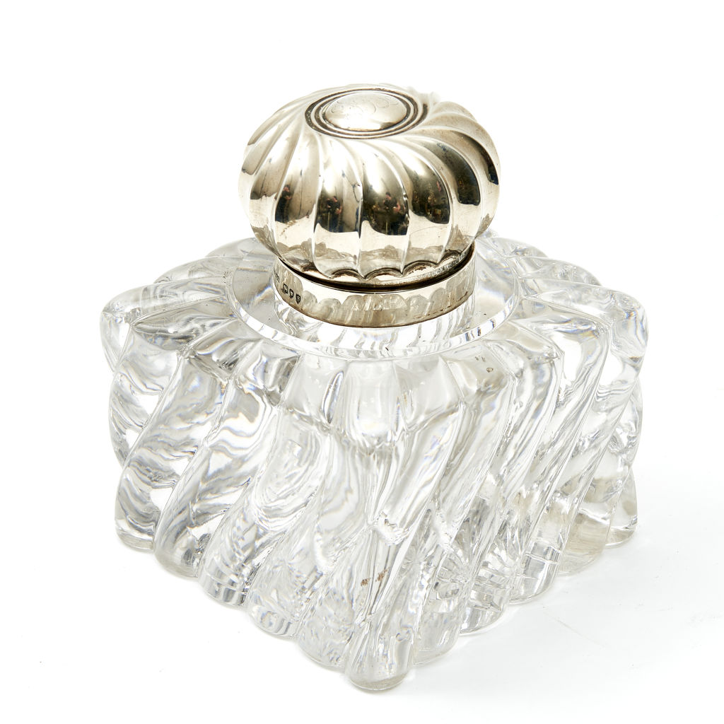 Glass & Silver Inkwell
