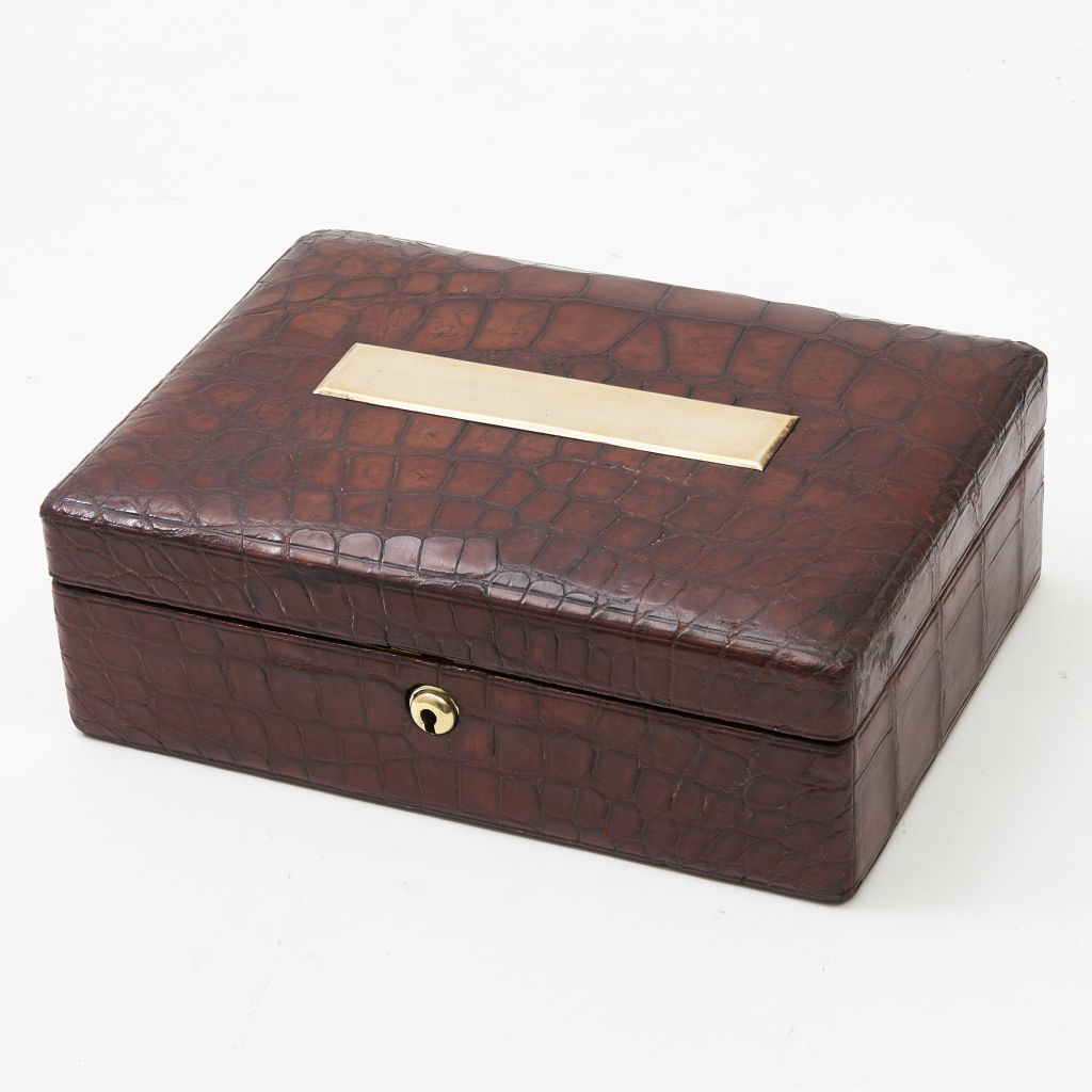 English Crocodile Jewellery Box