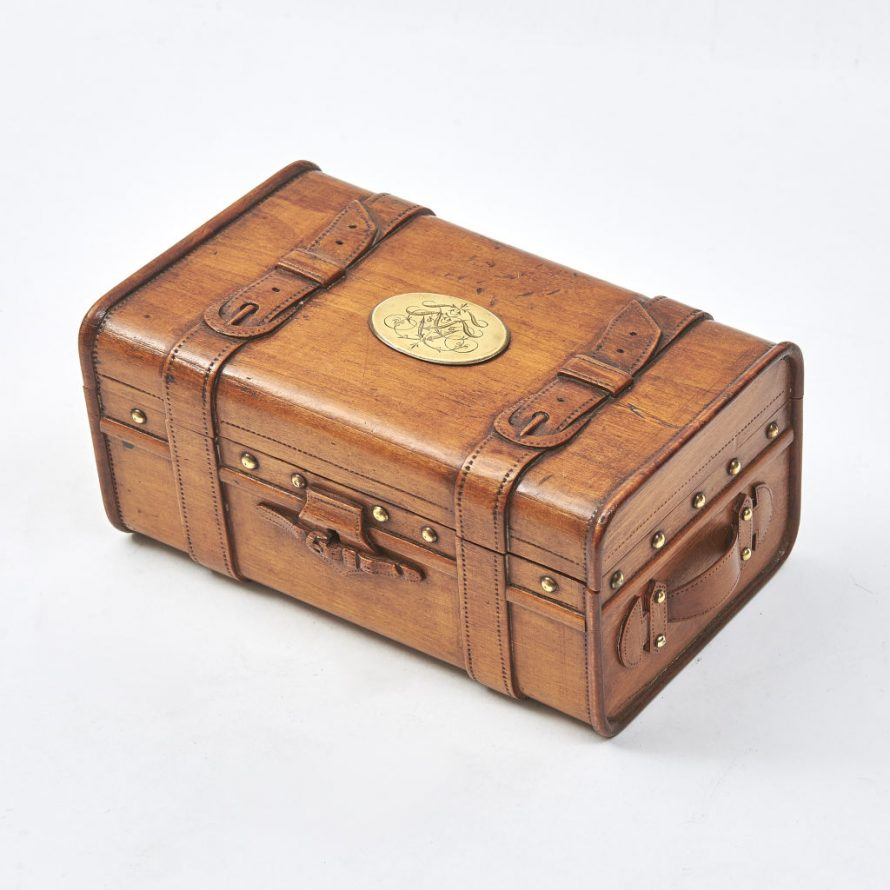 Miniature Fruitwood Carved Trunk