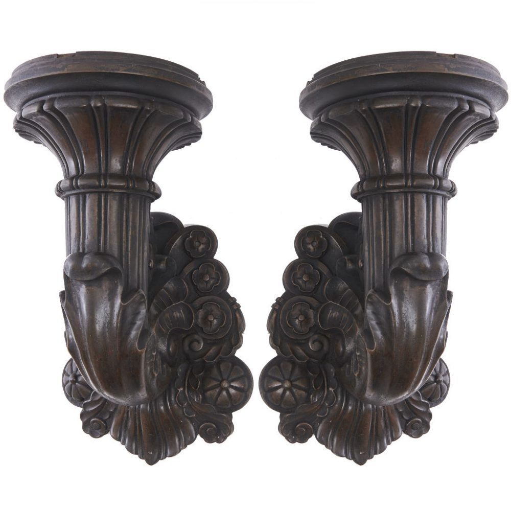 Large French Bronze Wall Torcheres