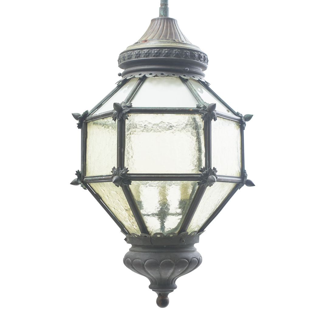 French Hexagonal Bronze Lantern