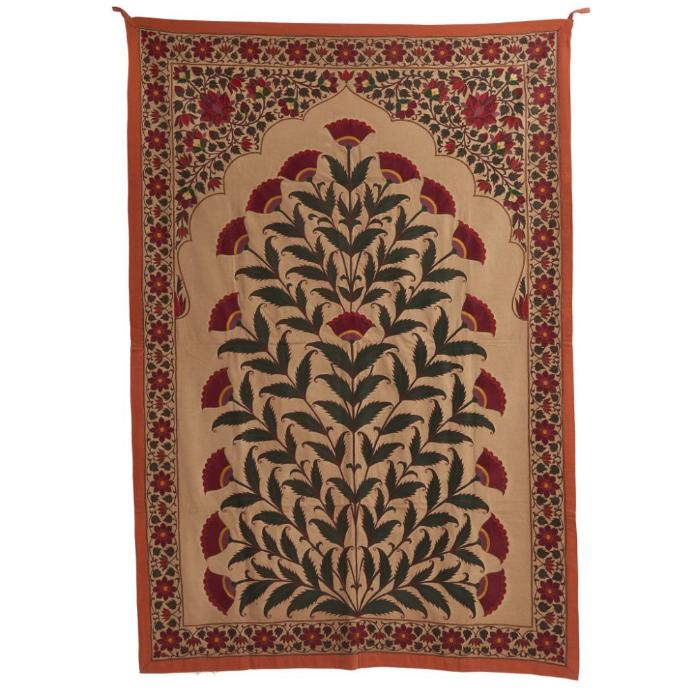 Floral Mughal Silk Embroidery Fabric