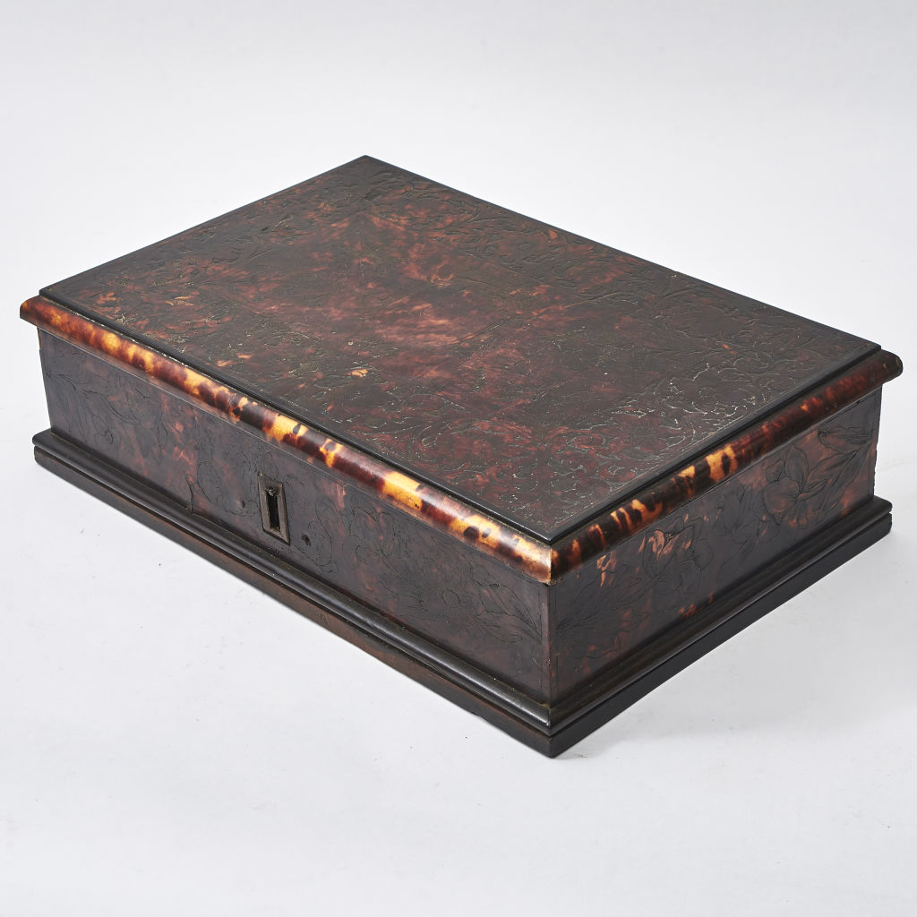 Spanish Engraved Tortoiseshell Box
