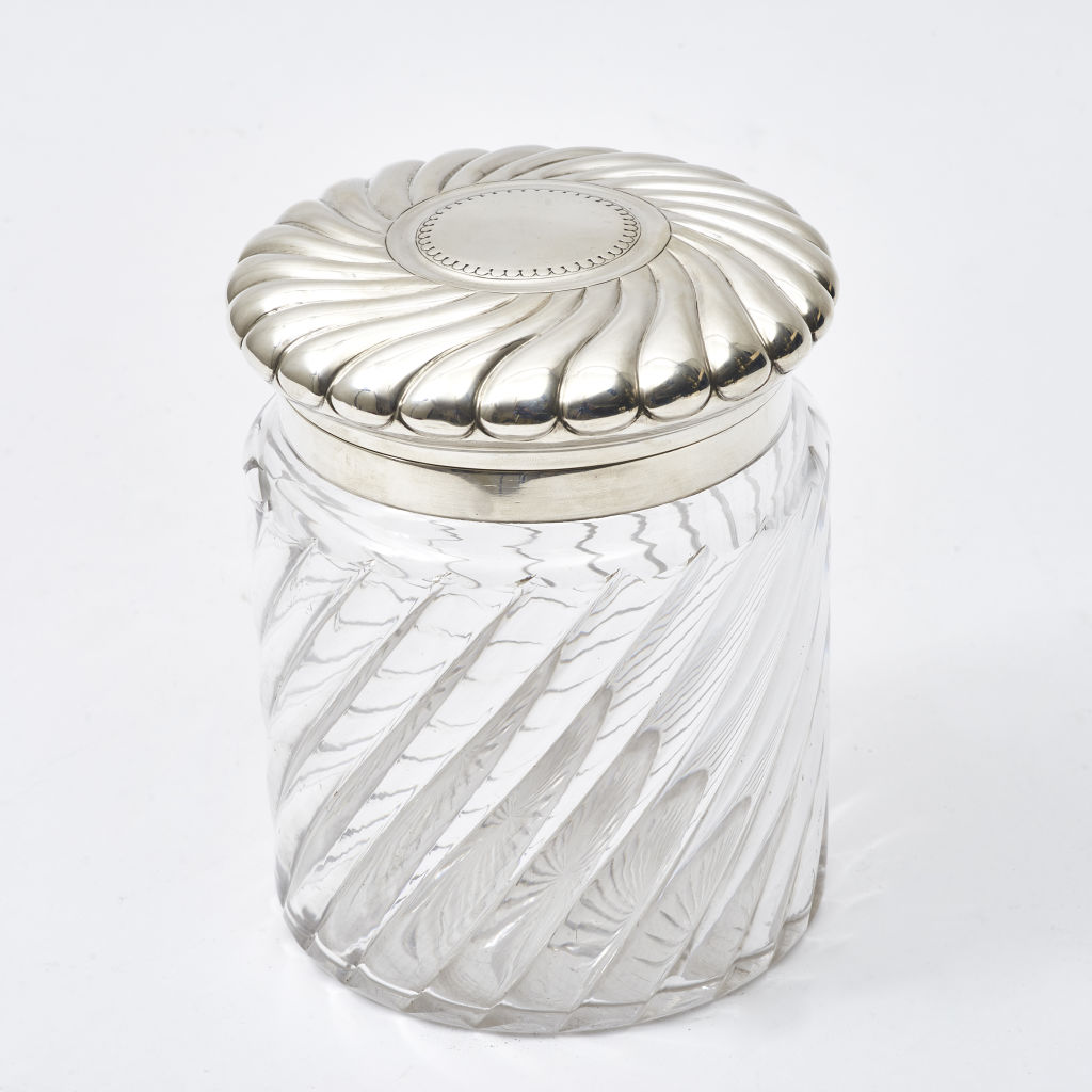 Ribbed Glass Biscuit Jar