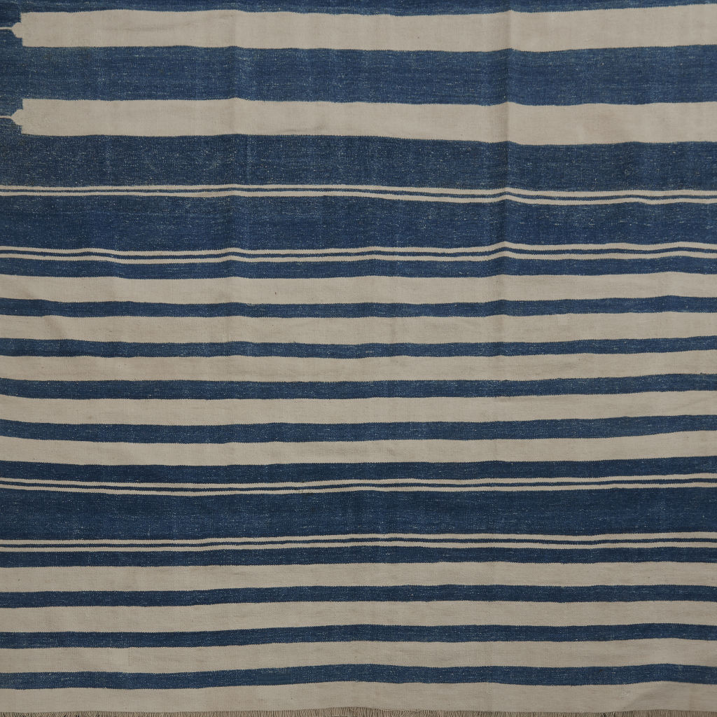 Blue & White Uneven Stripe Dhurrie