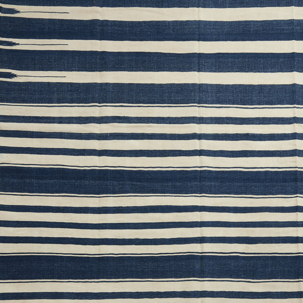 Uneven Indigo Striped Dhurrie