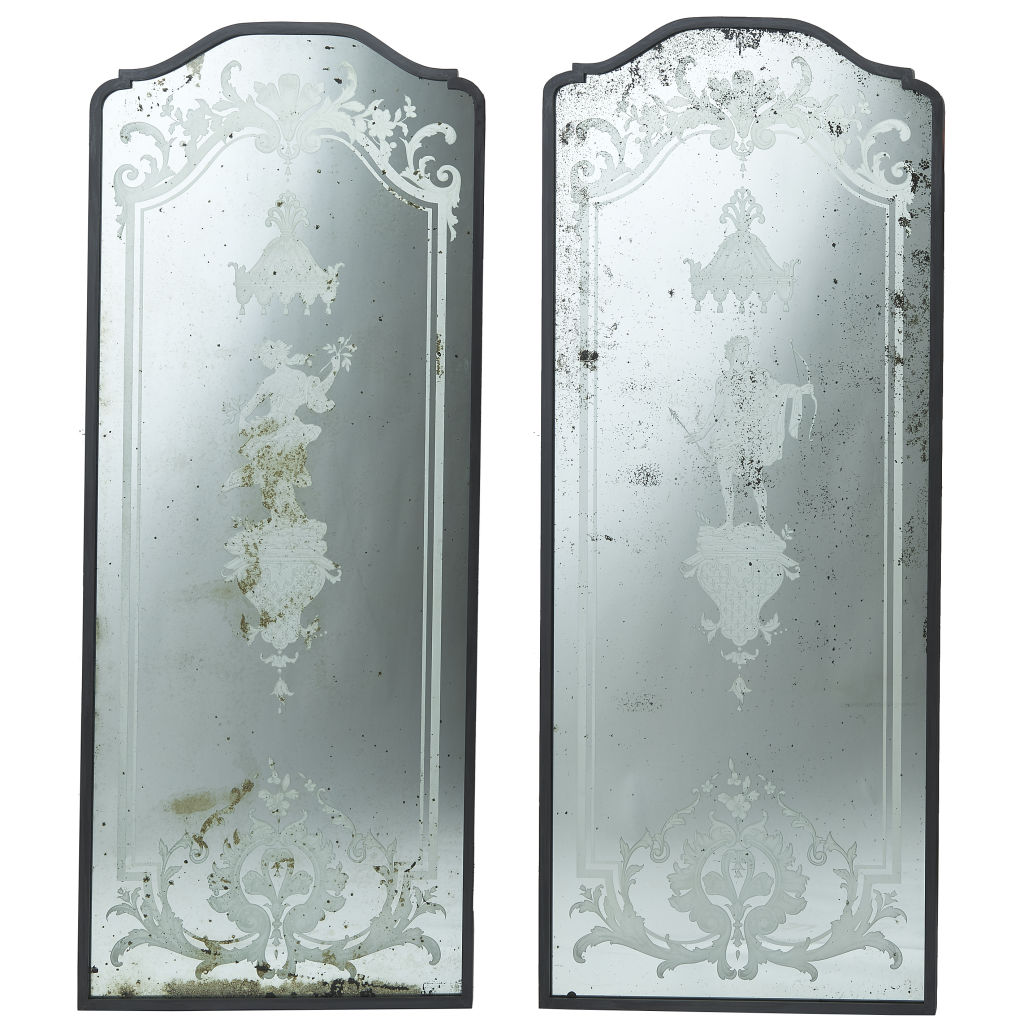 Pair Engraved Mirrors