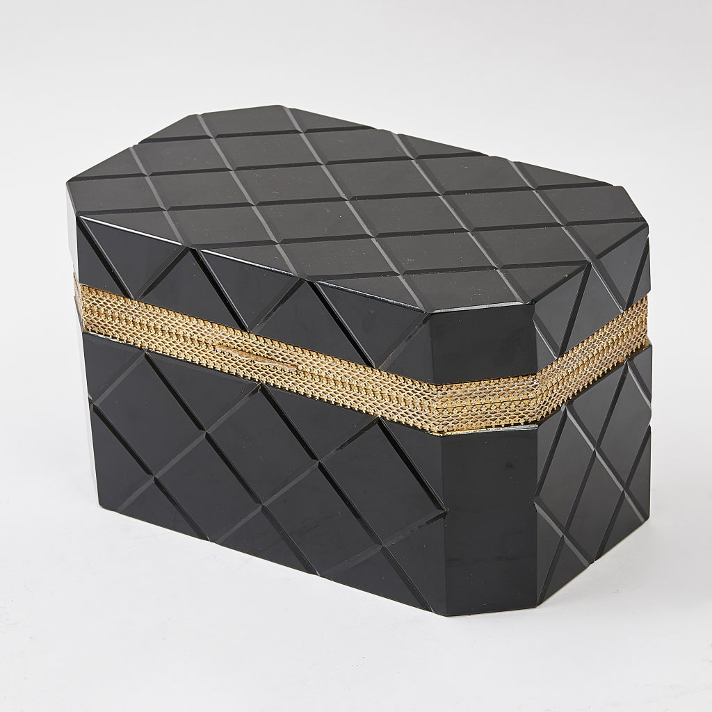 Large Black Diamond Cut Casket