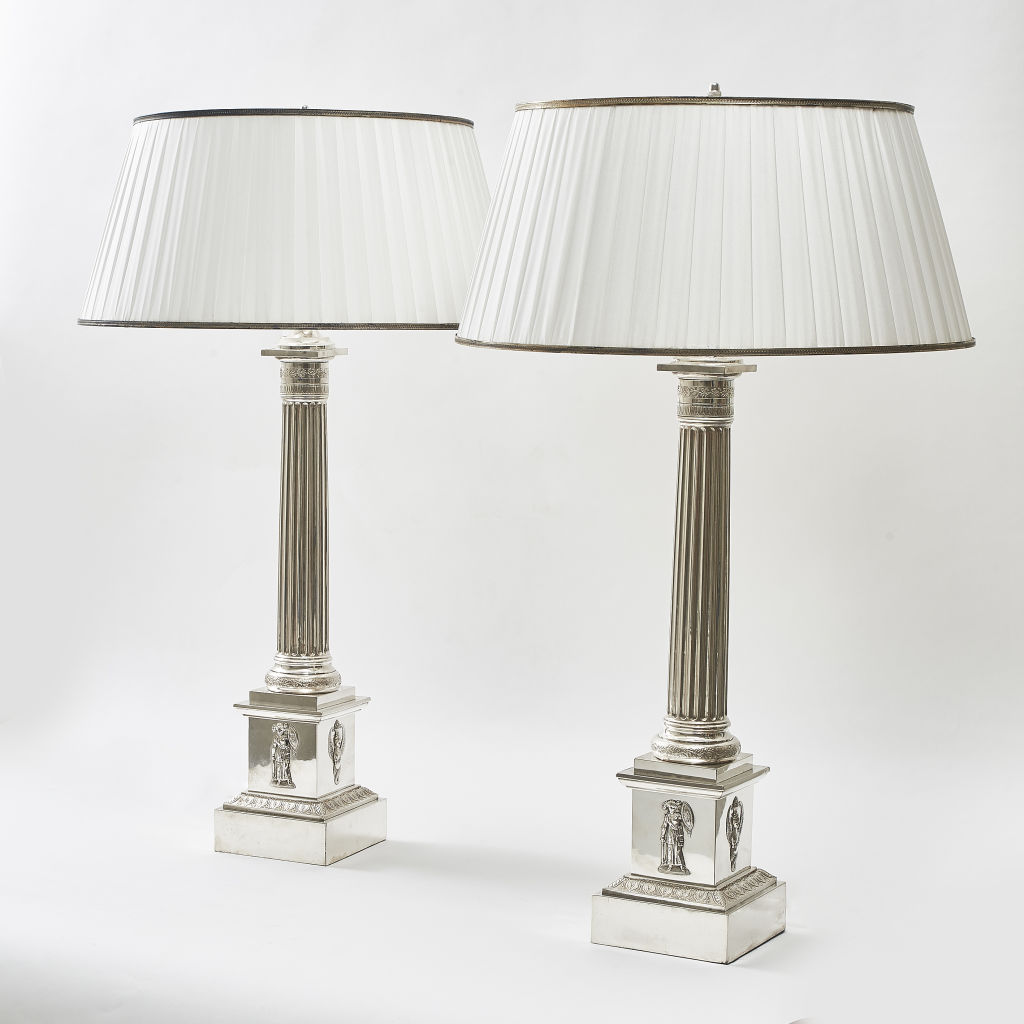 French Neoclassical Silver Plate Lamps