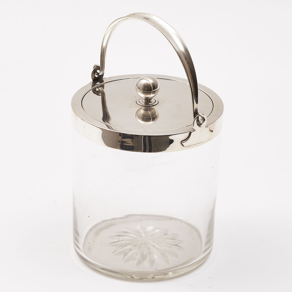 Small Glass & Silver Biscuit Barrel With Handle
