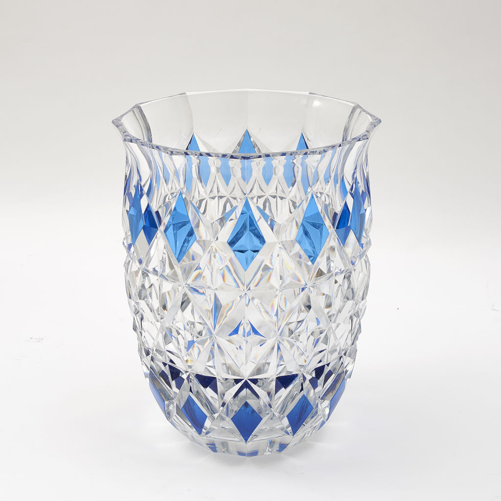 Large Clear Crystal & Blue Vase