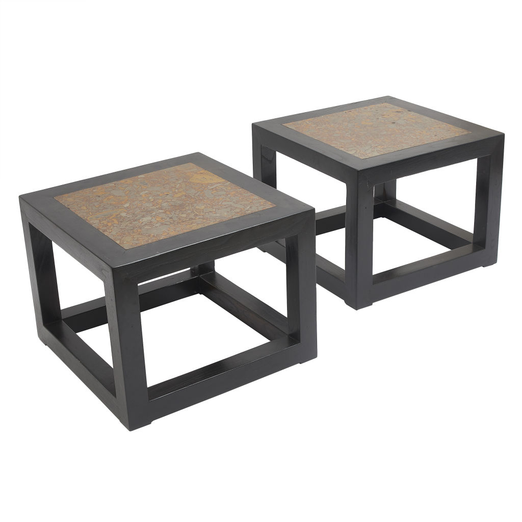 Pair Chinese Marble Low Tables