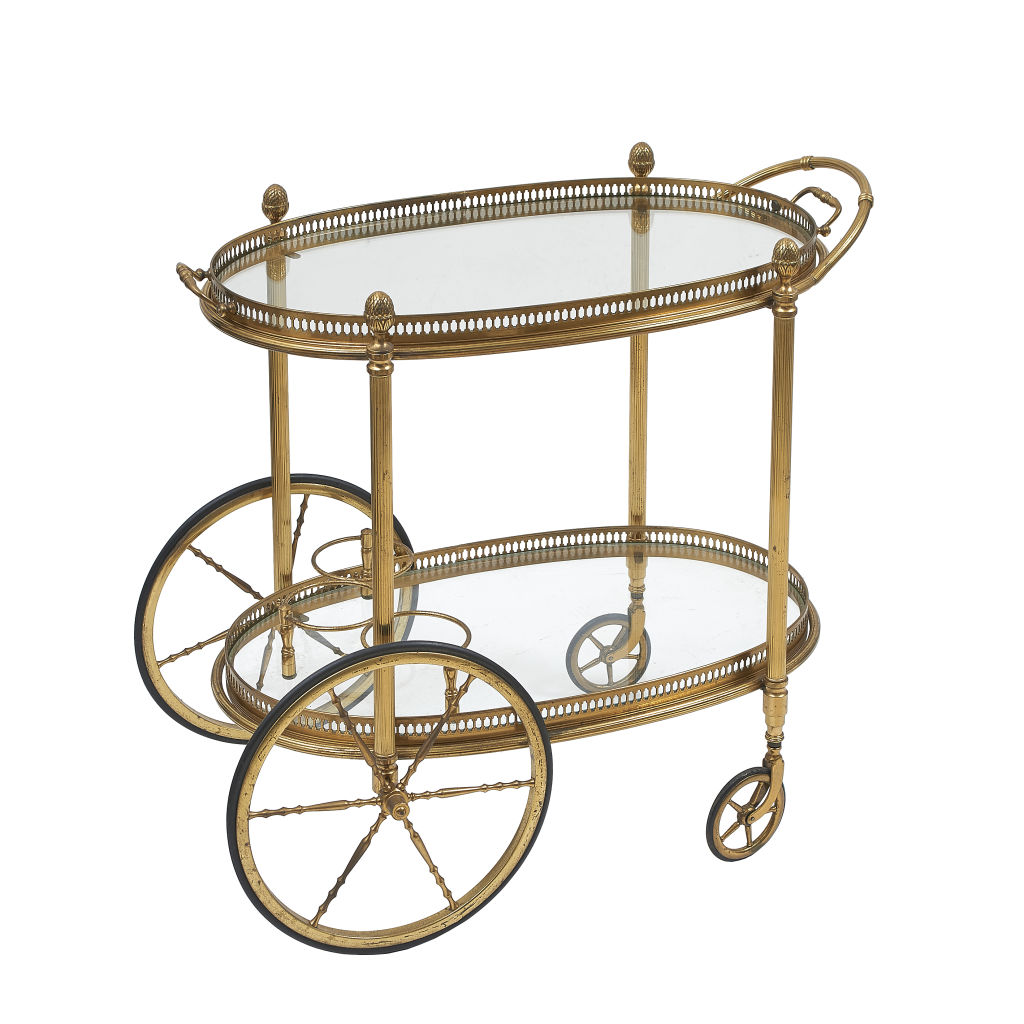 Oval Brass & Glass Bar Cart