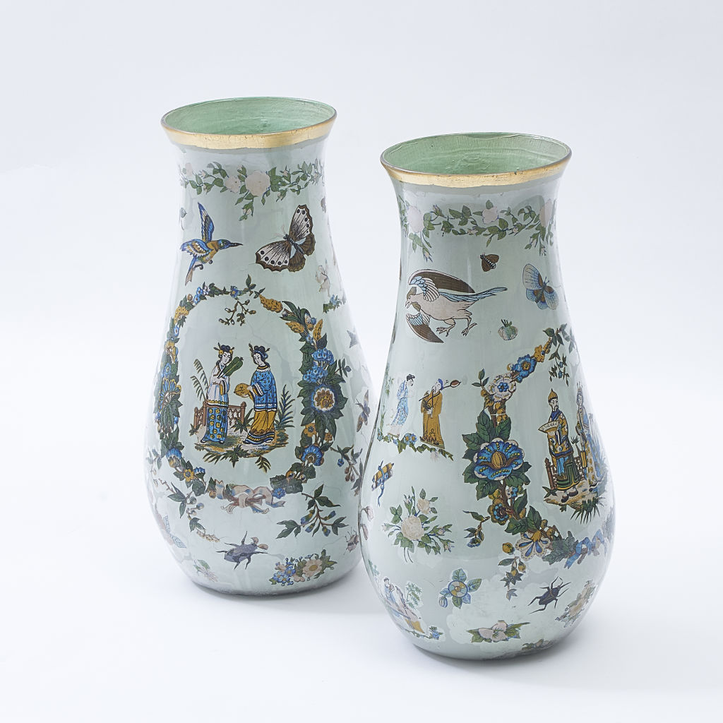 Pair Decalcomania Vases