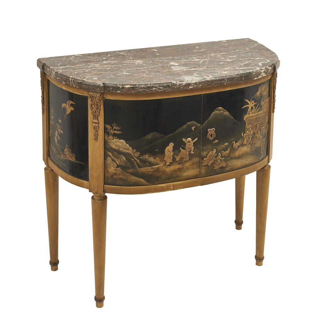 French Chinoiserie Demi Lune Cabinet