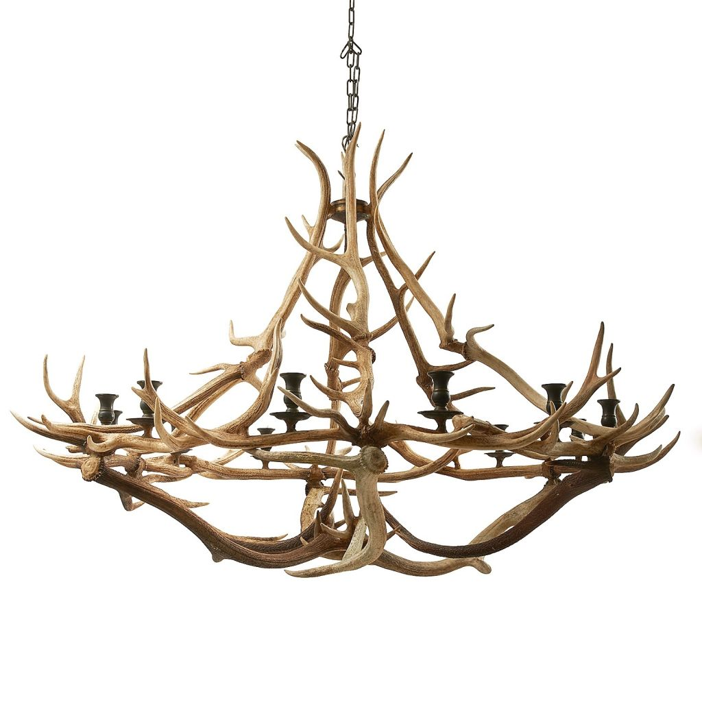 Contemporary Red Antler Chandelier