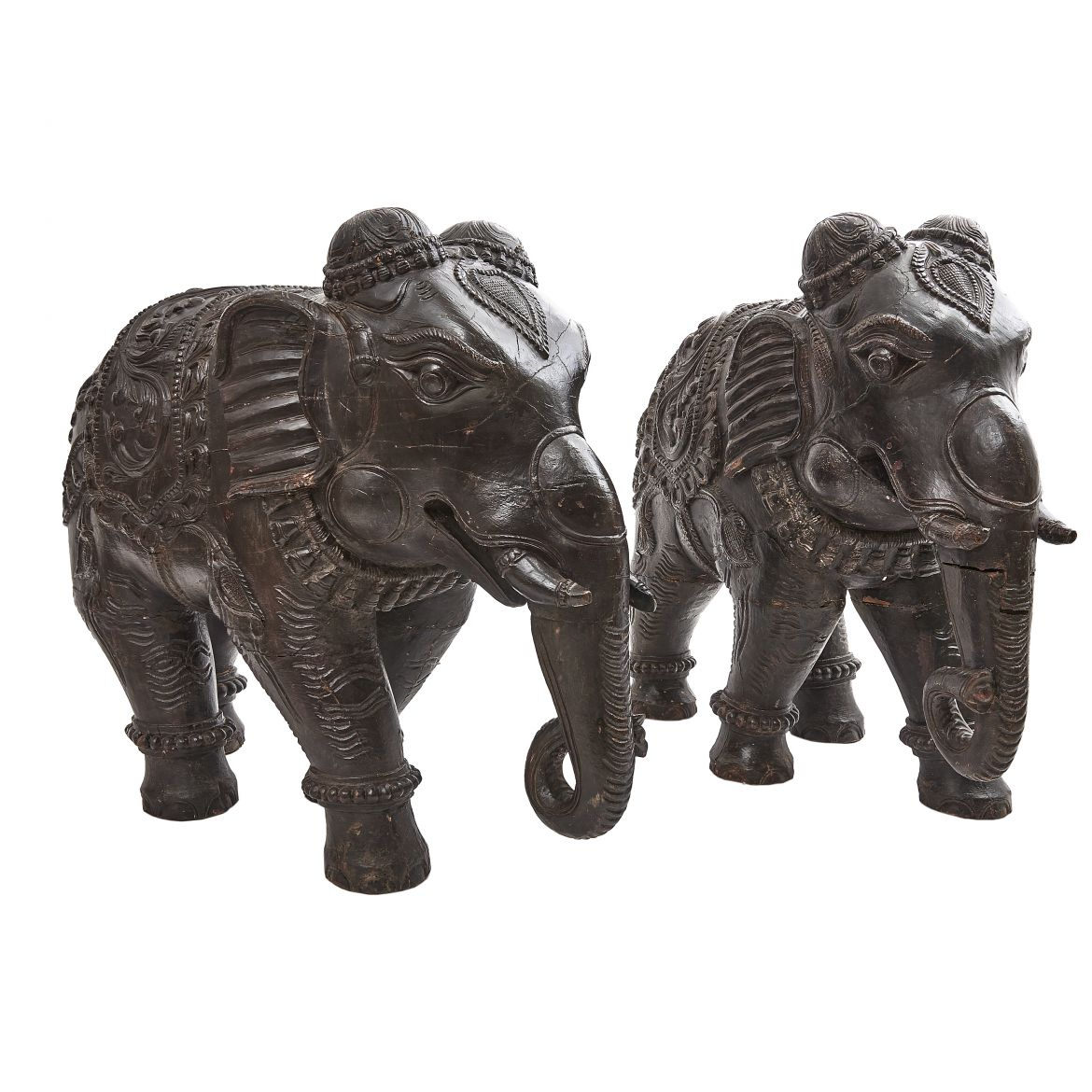 Pair Large Carved Elephants
