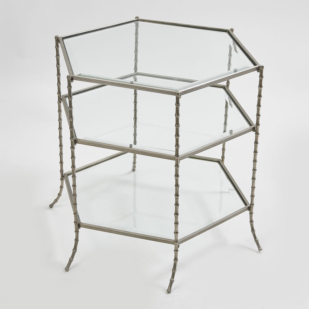 Silvered Hexagonal Side Table