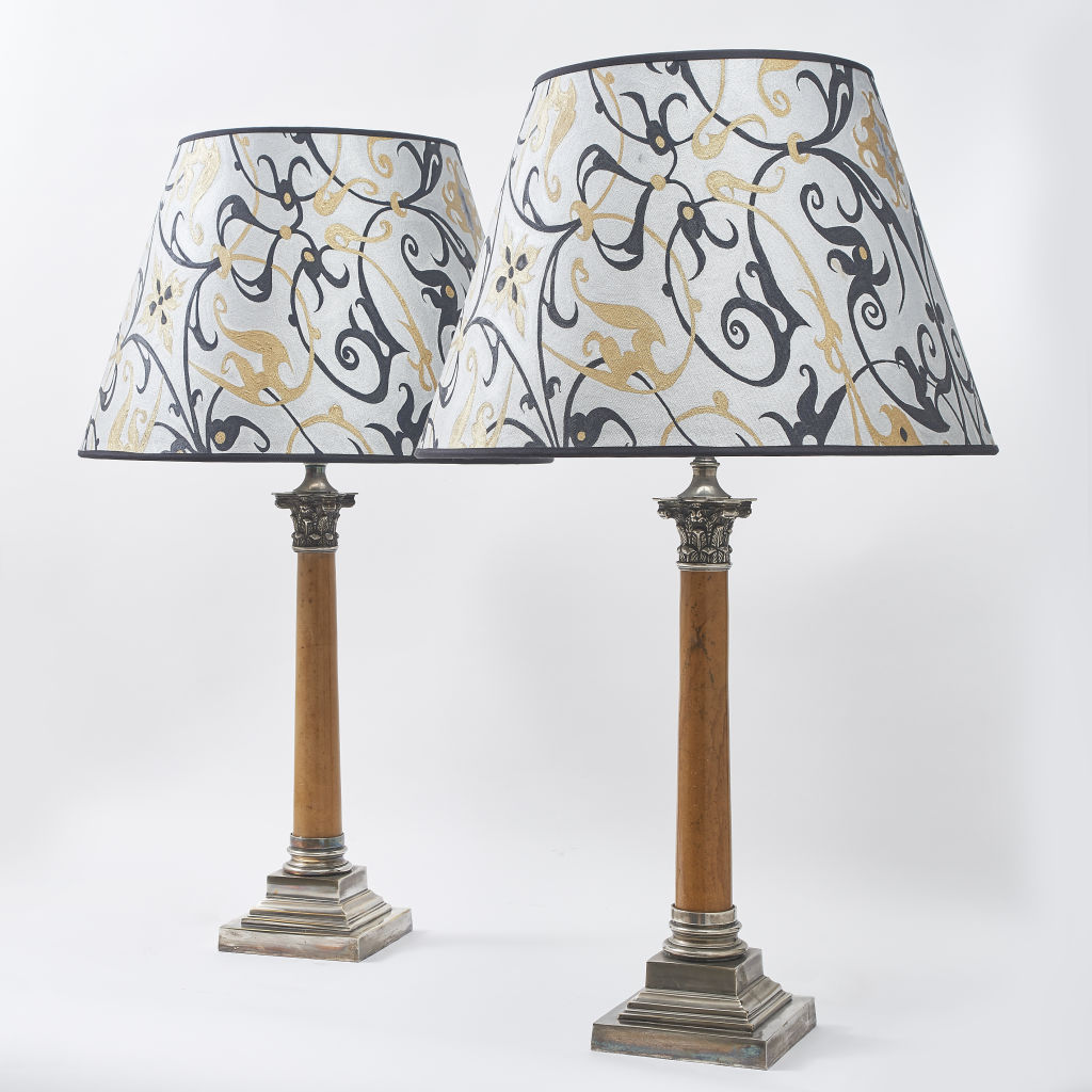 English Marble and Silver Lamps