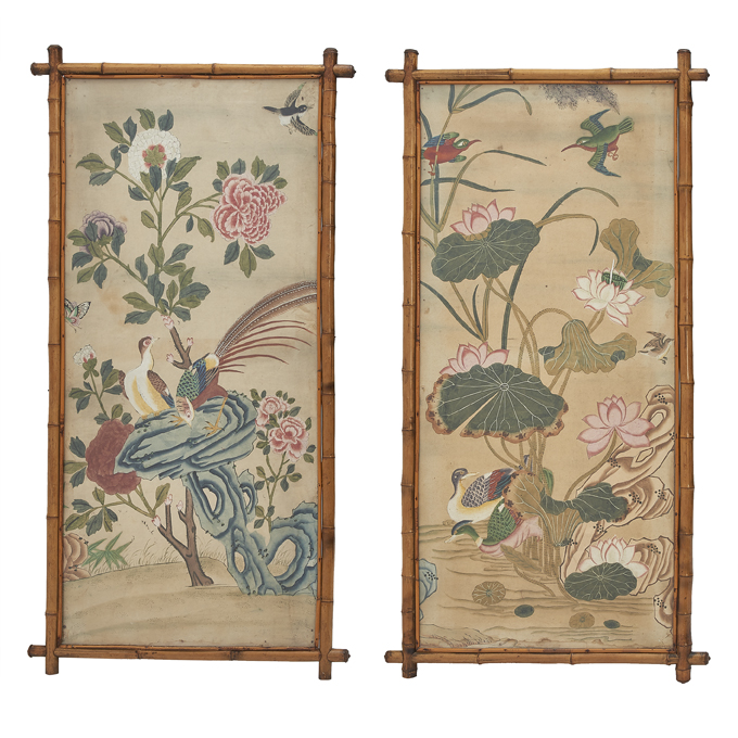 Chinese Painted Wallpaper Panels