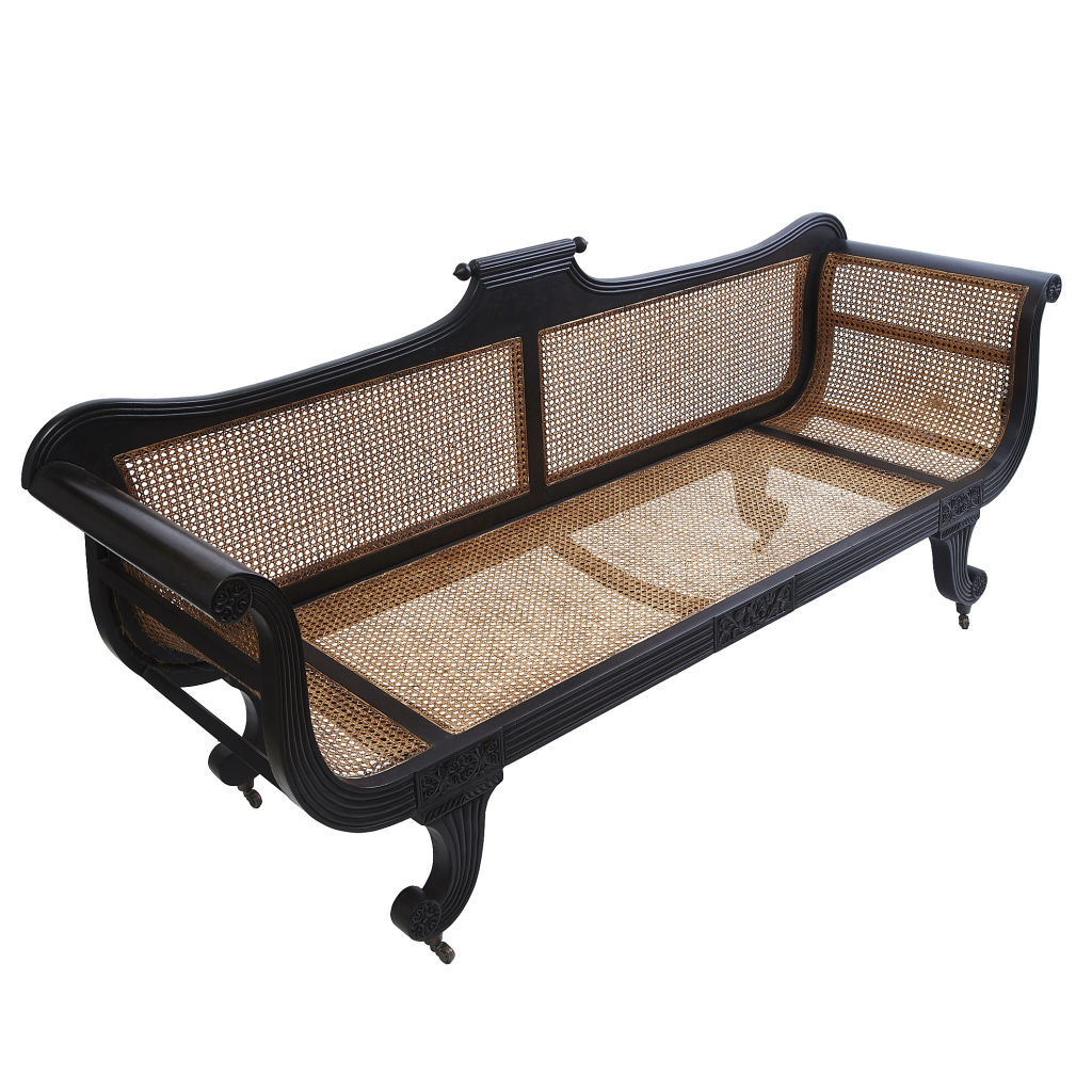 Anglo Indian Caned Settee