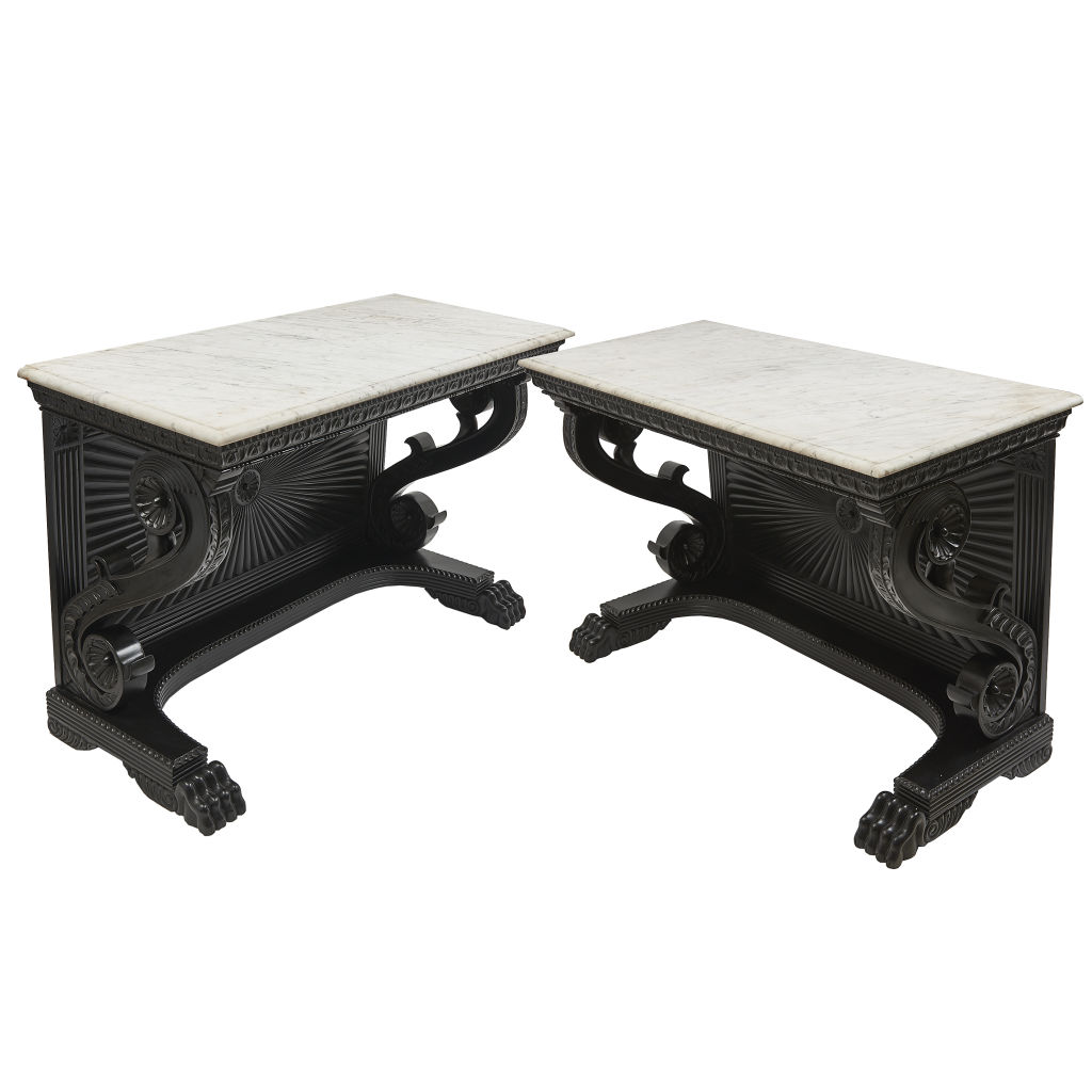 Ebonised Sunburst Consoles