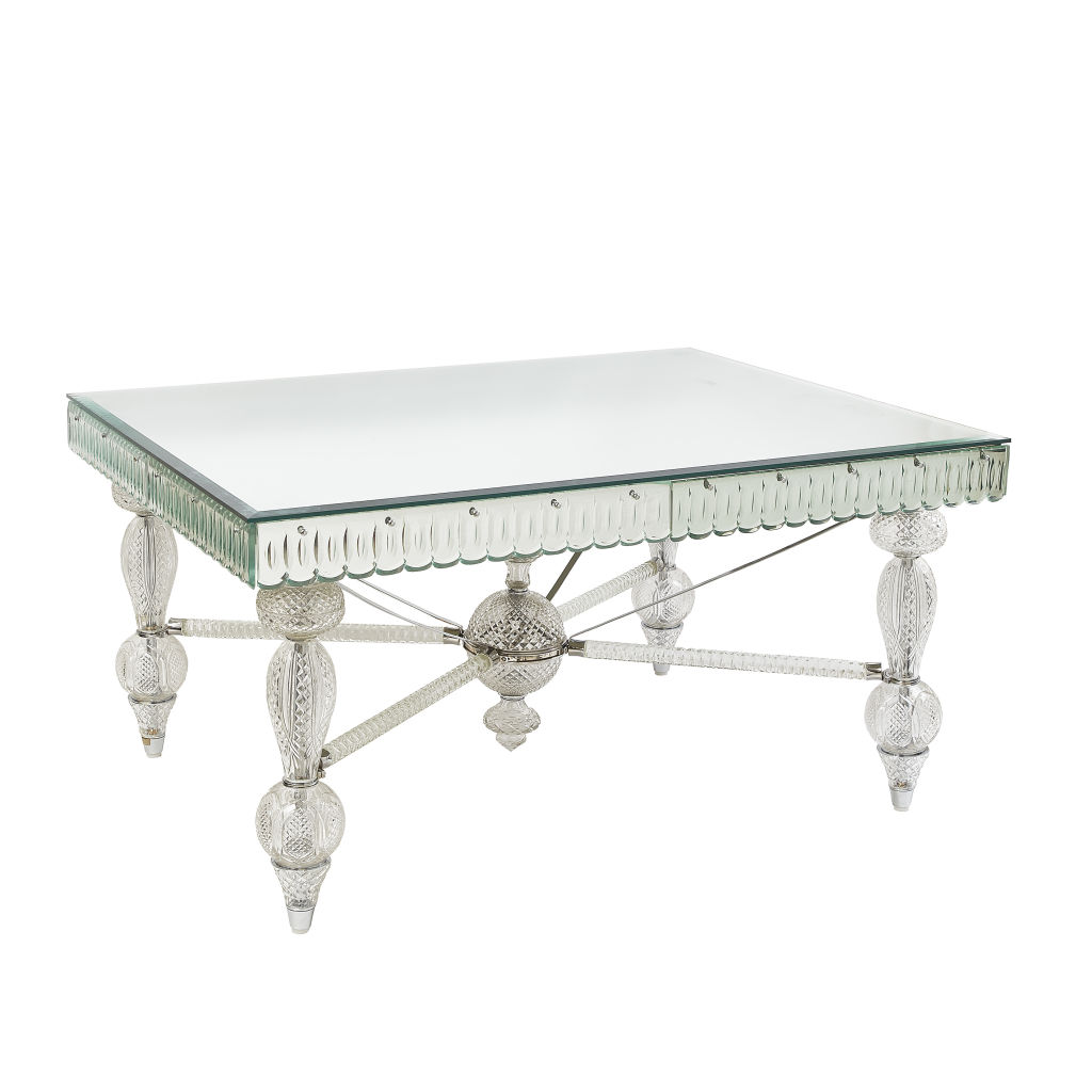 Cut Crystal Mirrored Table