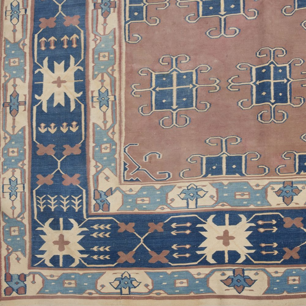 Large Blue and Terracotta Dhurrie
