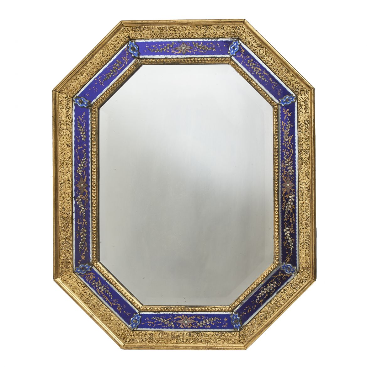 Glass & Enamel Octagonal Cushion Mirror