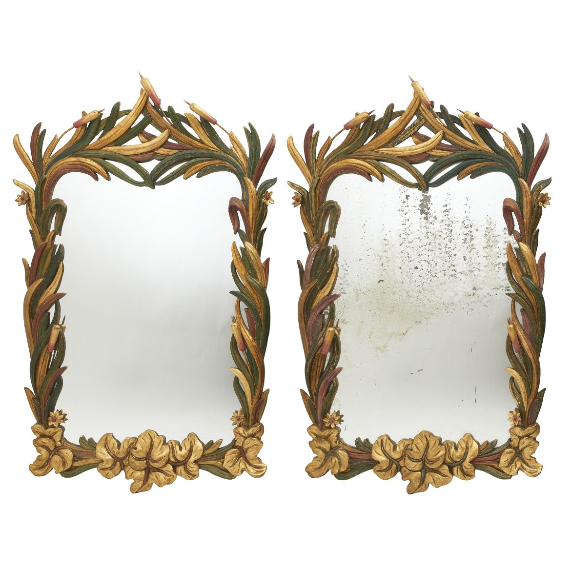 Pair of Floral Sicilian Mirrors