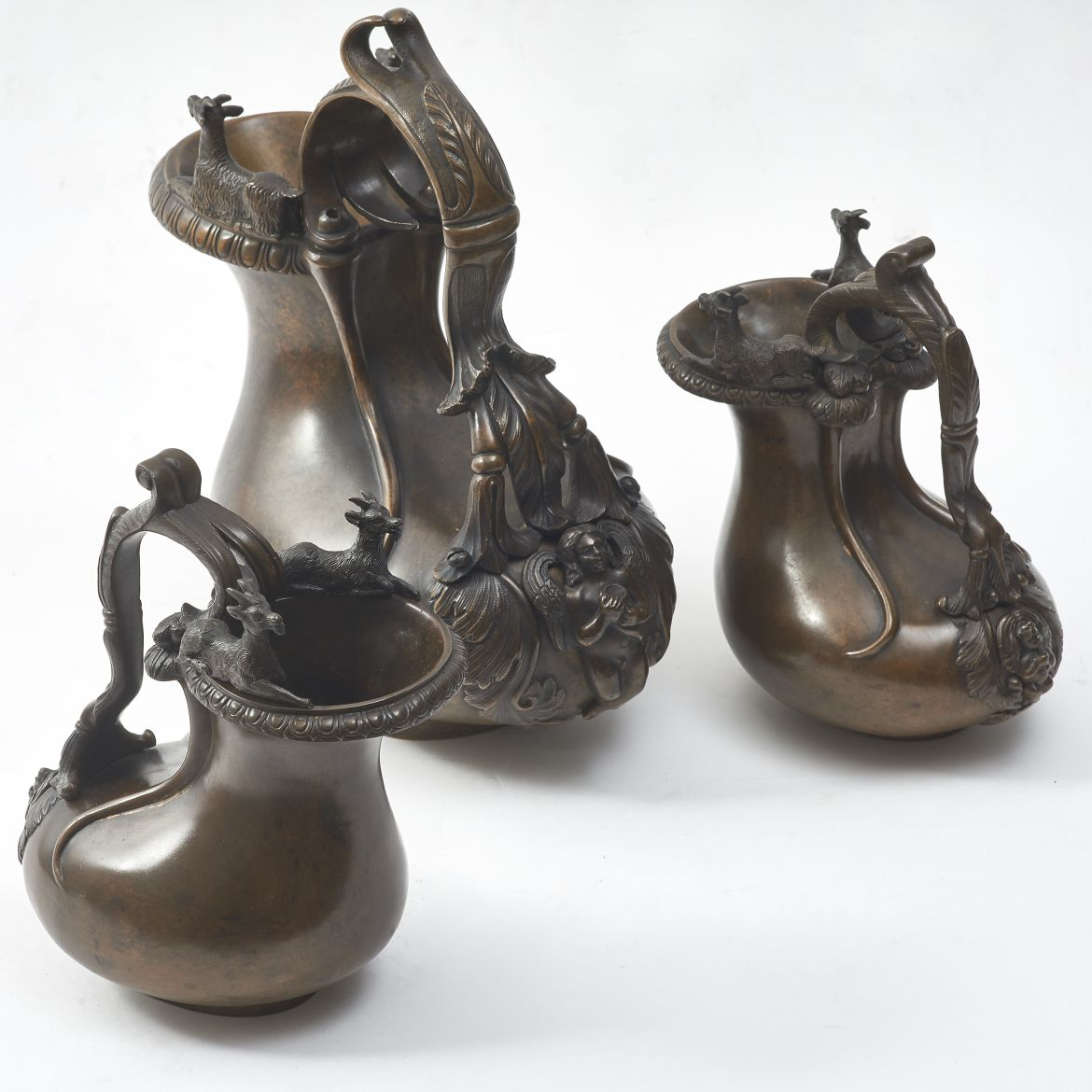 Three Italian Bronze Jugs