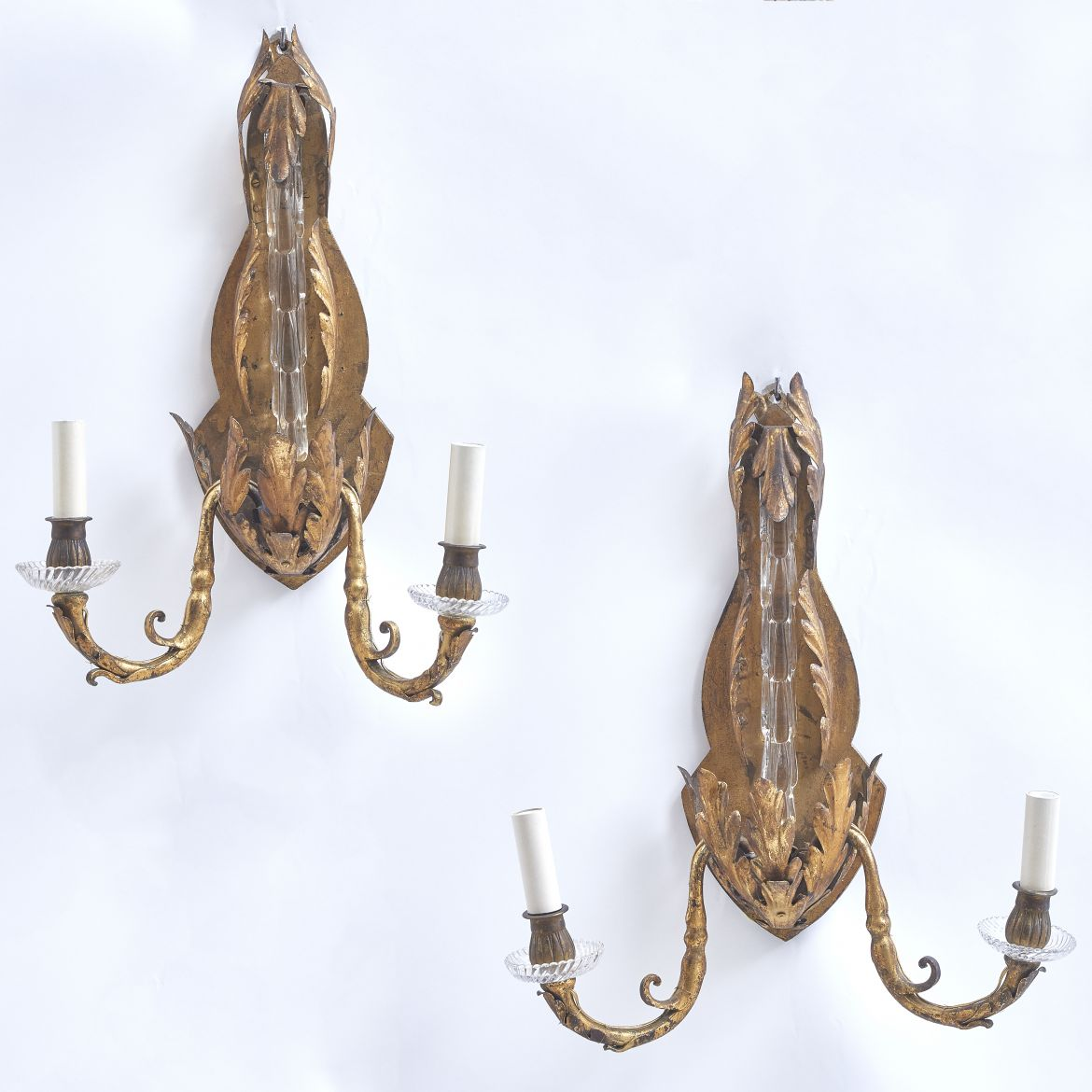 Gilt Metal & Glass Sconces