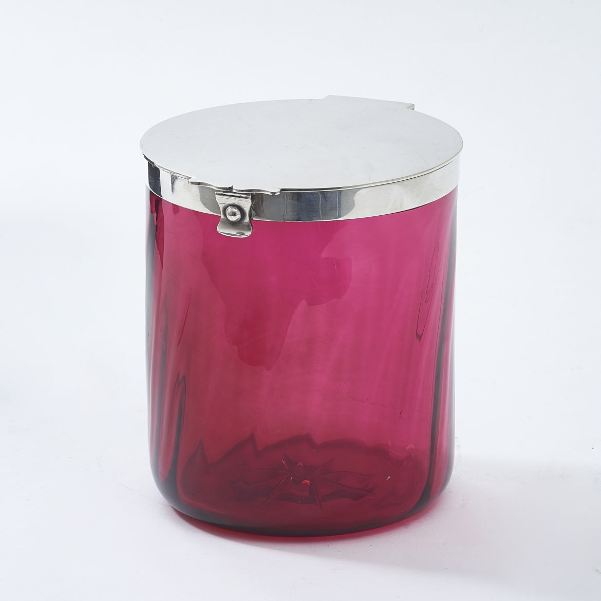 Cranberry Glass Biscuit Box