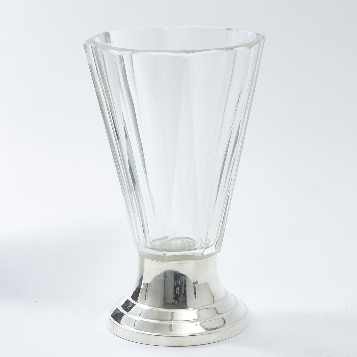 Octagonal Cut Glass Vase