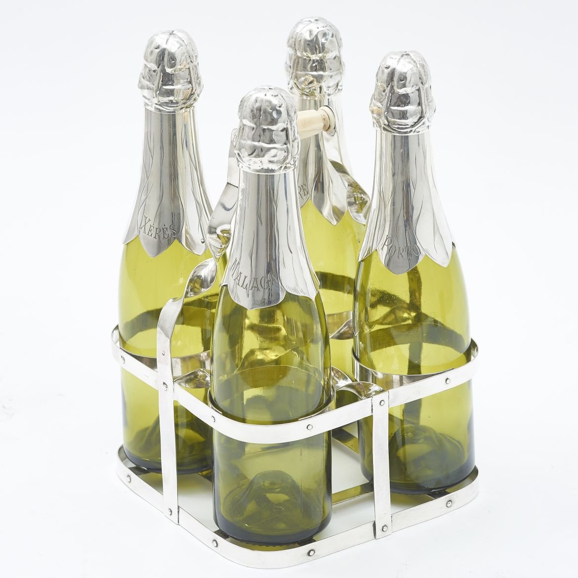 Set Of Four Green Glass Champagne Bottles