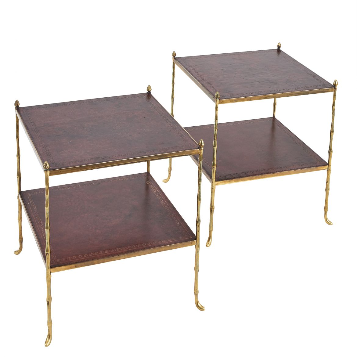 Pair Faux Bamboo End Tables