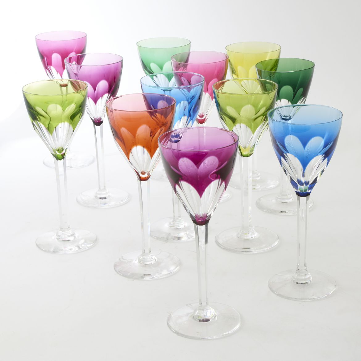 Eighteen Harlequin Val St Lambert Glasses