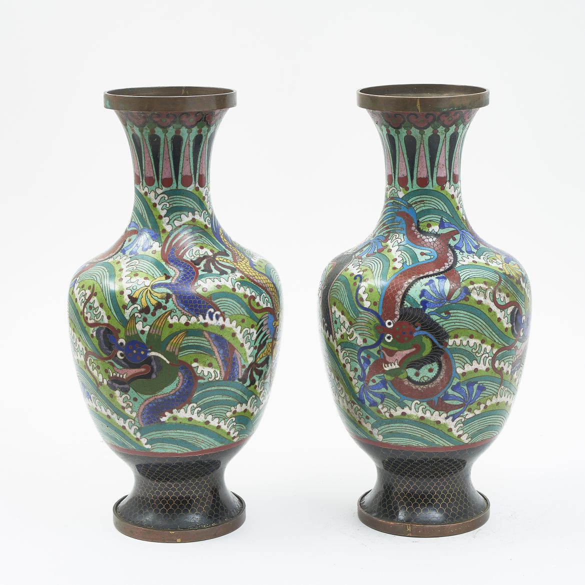 Pair Chinese Cloisonné Vases