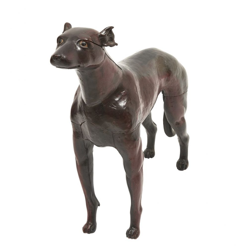 19th Century Carved Wooden Dog